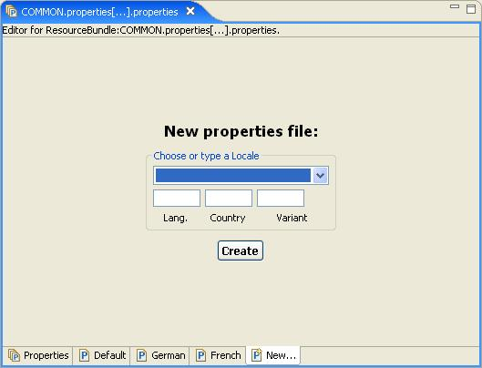 The bottom includes tabs that you can click to view and edit a list of all the properties within a.properties file for a specific language. 4.
