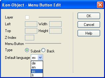 a. Click anywhere in the Submit button and then click the Properties button ( ) on the Contribute toolbar. The ilon Object Menu Button Edit dialog opens b.