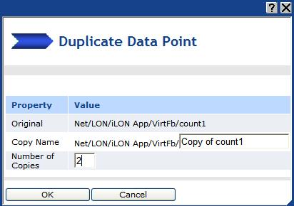 Click Submit. 2. Create two copies of the dynamic SNVT_count data point that you created in step 1. a.