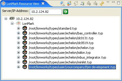 The resource files in the root/lonworks/types folder on your SmartServer flash disk are shown. 2.