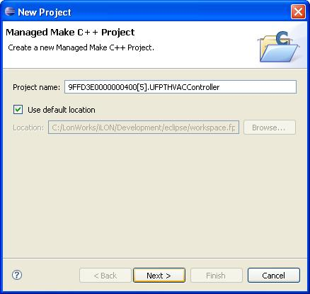 Specify the project name and the location where the FPM project is to be stored on your computer. a. The default project name is <company program ID>.UFPT<FPT Name>.