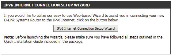 IPv6 Internet Connection Setup Wizard On this page, the user can configure the IPv6 Connection type using