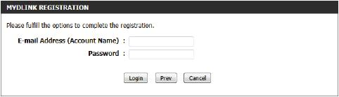 Register mydlink Service Wizard: Step 2 When registering a new account, the following page appears.