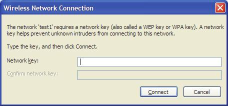 Section 5 - Connecting to a Wireless Network 3. The Wireless Network Connection box will appear. Enter the WPA-PSK Wi-Fi password and click Connect.