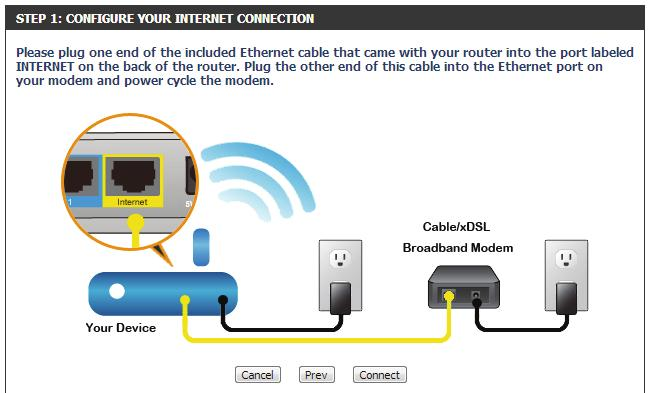 If the router does not detect a valid Ethernet connection from the Internet port, this screen will appear. Connect your broadband modem to the Internet port and then click Try Again.