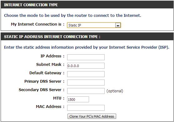 Manual Internet Setup Static (assigned by ISP) Select Static IP Address if all the Internet port s IP information is provided to you by your ISP.