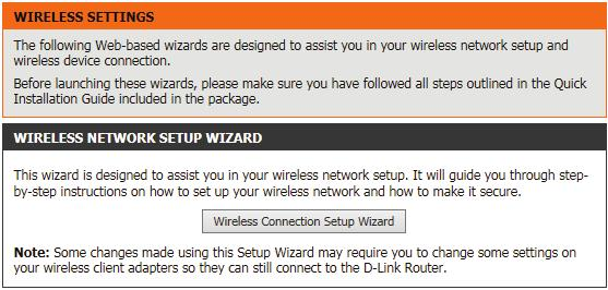 Wireless connection setup wizard On this page the user can configure the Wireless settings for this device. There are 3 ways to configure Wireless using this router.
