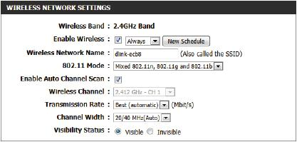 The following parameters will be available for configuration: Wireless Band: Displays the wireless band being configured. In this option we find that the following parameters will be regarding the 2.