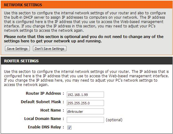 Network Settings This section will allow you to change the local network settings of the router and to configure the DHCP settings.