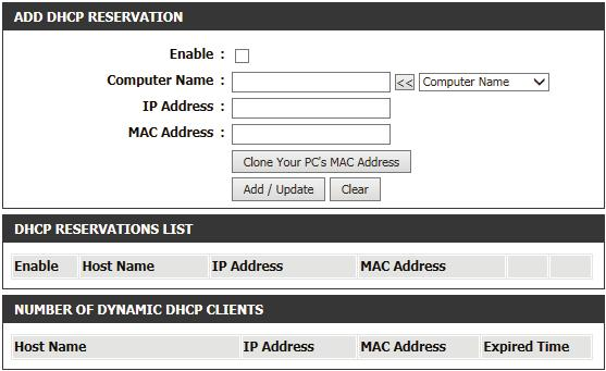 DHCP Reservation If you want a computer or device to always have the same IP address assigned, you can create a DHCP reservation. The router will assign the IP address only to that computer or device.