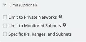 In this area is where you may set it to scan only private, non-routable networks. You may also limit the scan to subnets that you are currently monitoring.