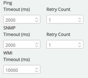 This is also where you may determine the Timeouts and number of retries for Ping and SNMP. And the timeout for WMI. The default timeouts are already entered in milliseconds.