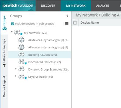 The My Network list view looks and works very similar to the Discovered Network list view with a few major differences. The My Network only displays those devices which are being monitored.