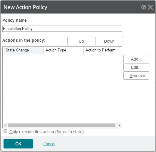 You may assign your action in a sequence to create an escalation policy. This is done by assigning different actions on different state changes.