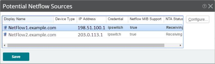 You can use the Potential NetFlow Sources dialog (Settings > Network Traffic Analysis > NTA Device Configuration) for the following: - View results of flow export sources configured and already