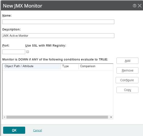 Application JMX The JMX Active Monitor allows you to monitor any server that supports JMX by requesting one or more JMX attributes the server supports and allows you to easily browse and add