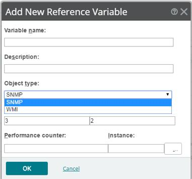 To configure an SNMP Active Script performance monitor: Click Add from the Add Active Script Performance Monitor dialog to add a new variable to the Reference variables field.