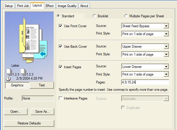 Print Layout: This menu handles the more complex document settings, including the ability to specify different paper sources for front cover, back cover, chapter sheet inserts and the main pages of