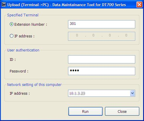 Step 5: Set every item on the Upload screen, and click the [Run] button. Specified Terminal Specify the telephone number or IP address of the terminal (telephone) to obtain data.