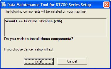 install Maintenance Tool, the following screen appears during installation of Maintenance