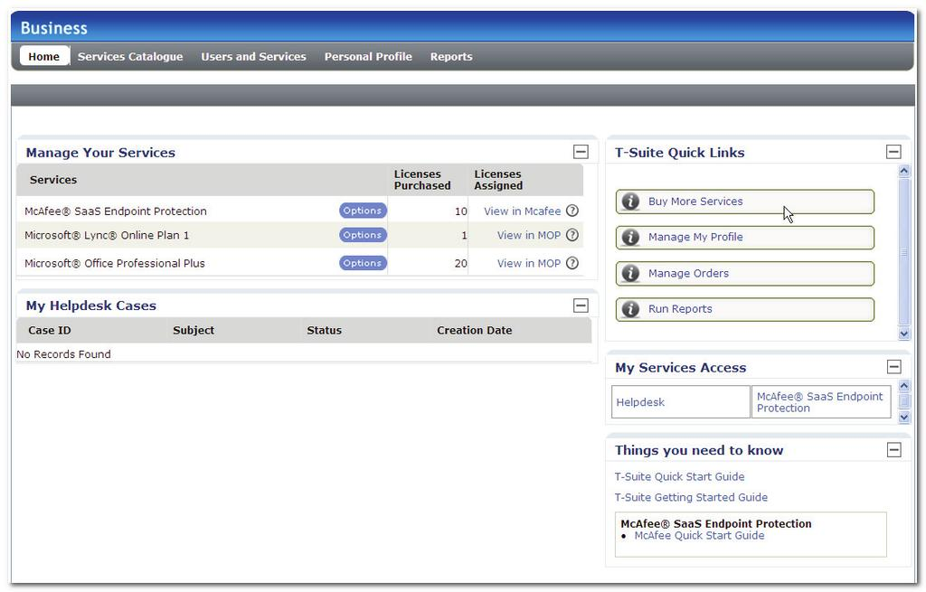 TMC User Interface Screenshot 9: The TMC Home Page The Home Page comprises the following tabs: Table 5.