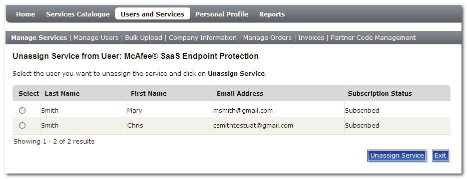 Managing Service Subscriptions 5. Click Unassign Service from User.