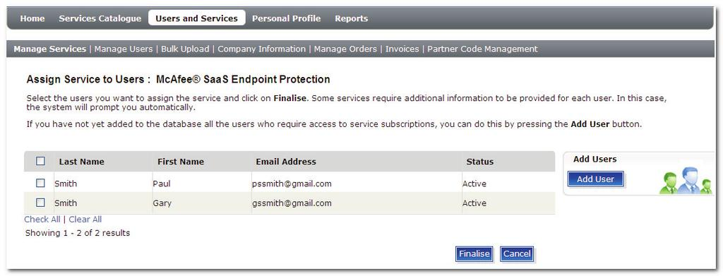 Managing Service Subscriptions Screenshot 35: Service Details Page 5. Click Assign Services to Users. 6.