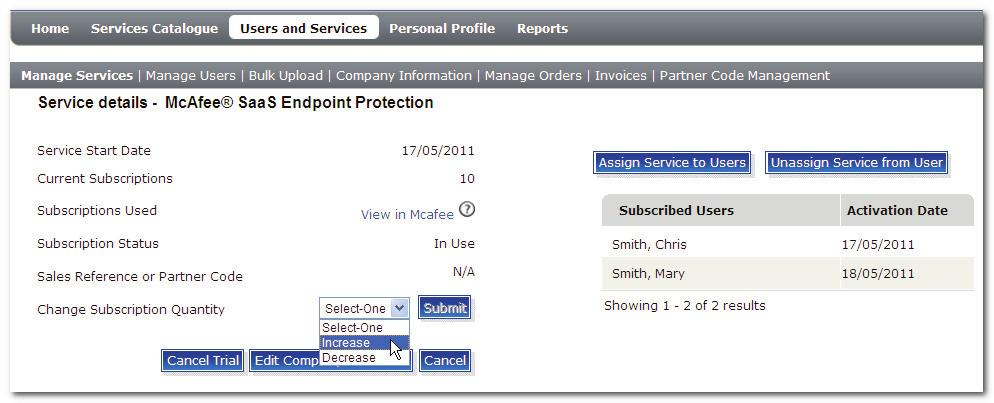 You will see the Manage Services page, as shown in the following screenshot (the given screenshot displays only active services).
