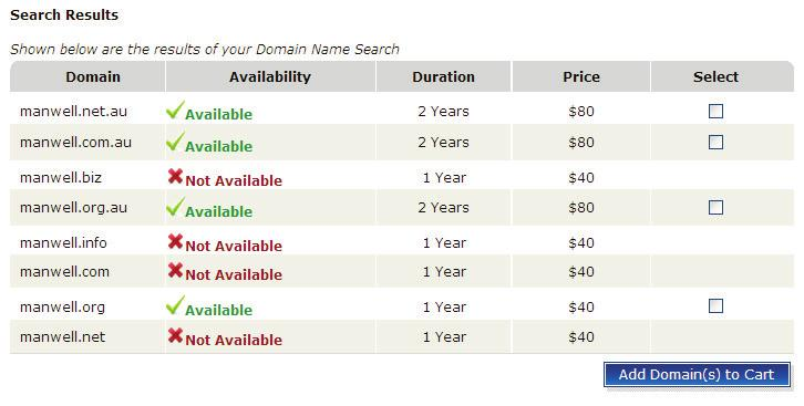Domains Screenshot 48: Domain Name Search 5. From the search results, select the required domain from the available domains by selecting the checkbox next to the domain you want to select.