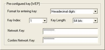Pre-configured key [WEP] You can also create encryption keys manually by pulling down the Key Length menu and select either 64bit or 128bit encryption method in the Pre-configured key section of this