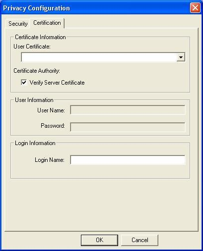 Certification Tab After you select the EAP type, you need to click Certification Tab to make advanced setting. The following describes configuration of each available EAP type.