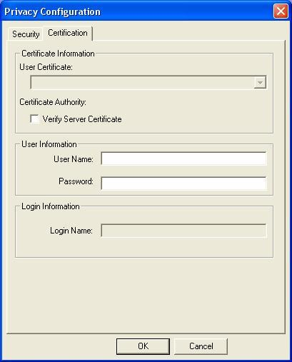 PEAP: Clicking the Certification tab for PEAP displays the following menu. Figure 4.3 Figure 4.4 PEAP requires the use of Certificate Information and User Information.