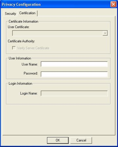 LEAP: Clicking the Certification tab for LEAP shows the following menu. LEAP requires the mutual authentication between station and access points.