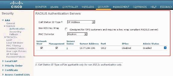 Configuring WLAN with RADIUS Server Now that the RADIUS server is configured on the WLC, you need to configure the WLAN to use this RADIUS server for web authentication.
