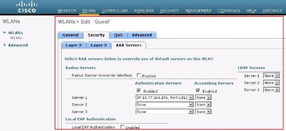Click the WLAN Guest which was created for web authentication. 2. On the WLANs > Edit page click the Security Menu. Click the AAA Servers tab under Security.