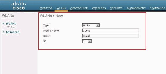 Add a WLAN Instance Now that Internal web authentication has been enabled and there is a VLAN interface dedicated for web authentication, you must provide a new WLAN/SSID in order to support the web
