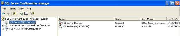 7. Click on the plus sign beside SQL Server 2005 Network