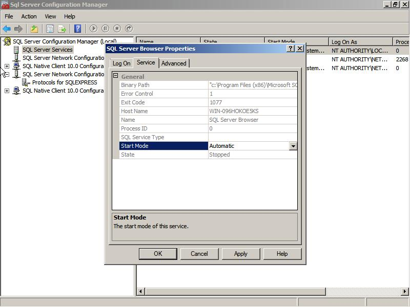 4. Click on the plus sign beside SQL Server Network Configuration and click on