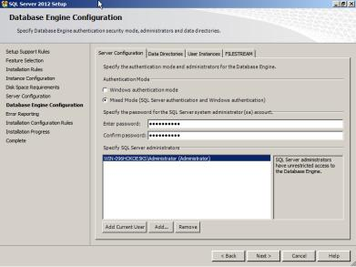 "Choose ""Mixed Mode (SQL Server authentication and Windows authentication)""."