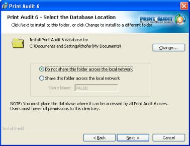 Step 8: Install Database Communicator Print Audit 6 uses a component called the Database Communicator to facilitate communication between the database and