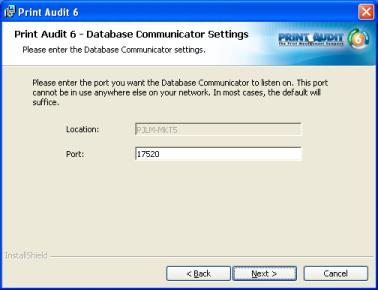 Step 9: Database Communicator Settings The Database Communicator allows for two settings to be modified; location and port.
