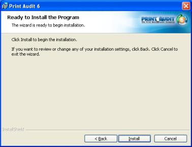Step 13: Installation Complete Print Audit 6 will inform you when the installation has completed.
