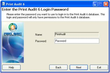 "The window below allows you to set the password for the ""PrintAudit"" user. If a password is not entered, it will default to ""password""."