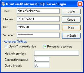 "In the ""database"" field, enter the name of the database you created for Print Audit 6 in step 15."