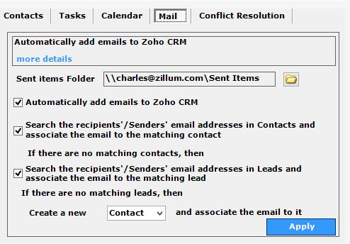 If there are no matching leads, then select Contacts or Leads from the dropdown list to create a new record.
