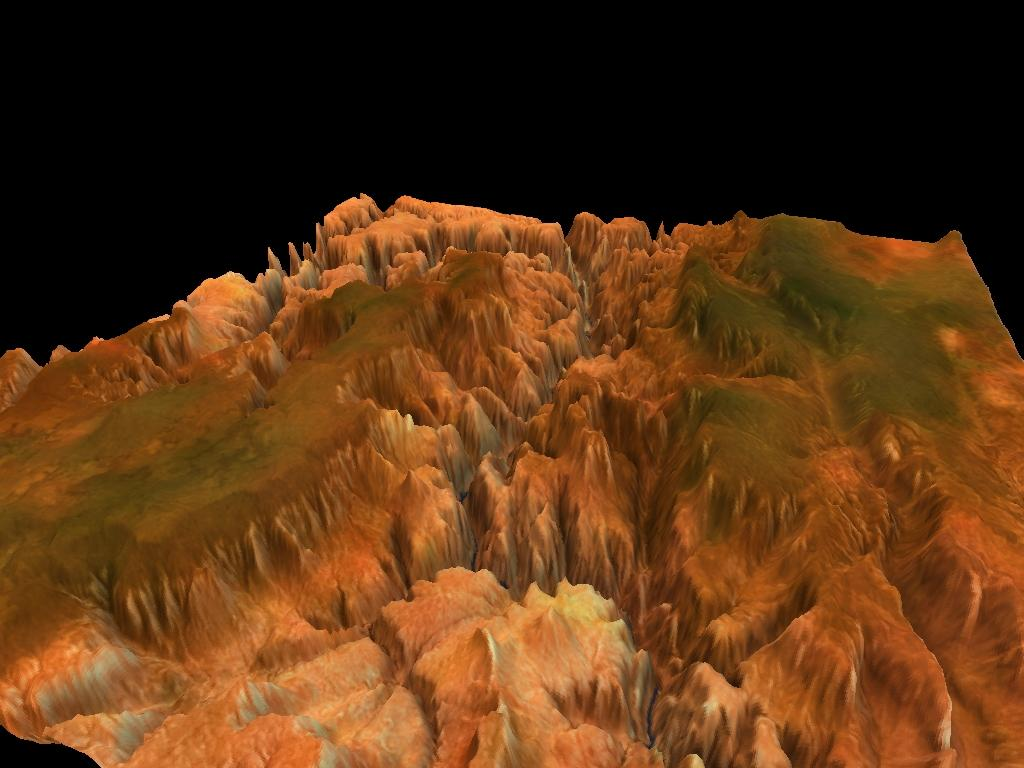 Figure No 7: These images show a textured mesh of parts of the Grand Canyon based on satellite altitude data with 66049 vertices.