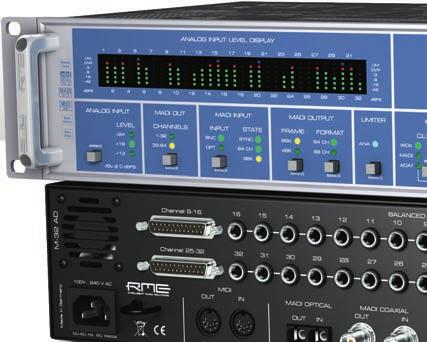 M-32 AD M-16 AD 32/16-Channel 192 khz Analog to MADI/ADAT Converter Converter RME's M-32 AD is a 32-channel high-end AD converter, easy to operate yet having a comprehensive feature set.