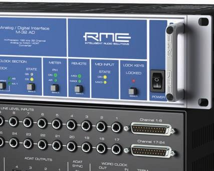 The unit's unique set of features includes analog limiters, three hardware reference levels up to +24 dbu, MADI and ADAT I/O up to 192 khz, 6.