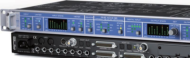 Analog and digital limiters, 4 hardware reference levels up to +24 dbu, AES/EBU and ADAT I/O (optional MADI I/O) at up to 192 khz, remote control via