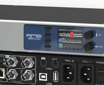 Apart from optical, coaxial and twisted pair MADI connections, the AES3 Router provides four D-sub 25-pin ports, carrying 32 audio channels both in and out of the device.